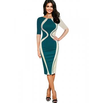 Women's Scoop Neck Optical Illusion Business Bodycon Dress Green half sleeve s