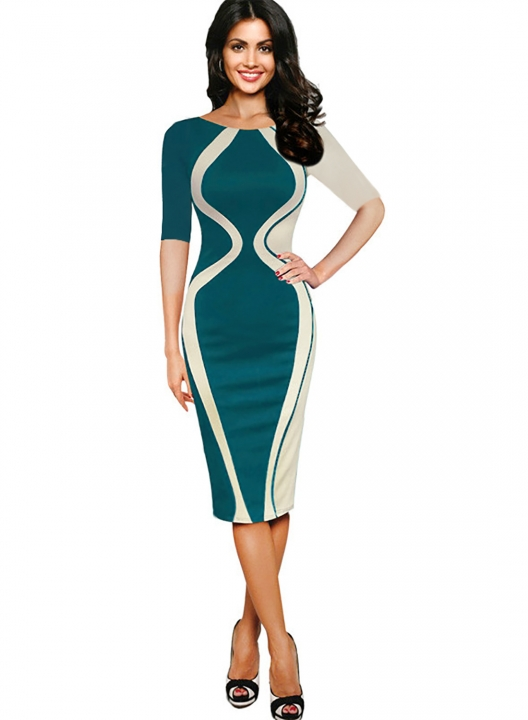 Women's Scoop Neck Optical Illusion Business Bodycon Dress Green half sleeve xl