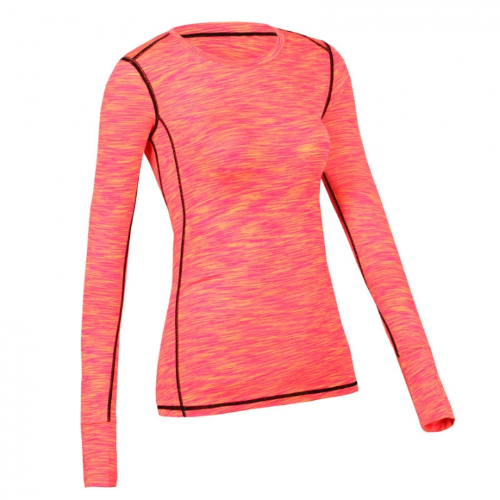 Women Yoga tops Gym Compression Sport T-shirts Dry Quick Running Short Long Sleeve Fitness Tees tops Orange M