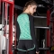 Women Yoga tops Gym Compression Sport T-shirts Dry Quick Running Short Long Sleeve Fitness Tees tops Green + black sleeve L