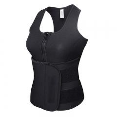 Body Shaper Sweat Slimming Tops Zipper Adjustable Waist Vest Waist Trainer Shapewear Modeling belt black xl