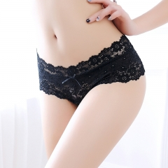 4 Pack Sexy Open Crotch Panties Lace Lingerie Women Sexy Lace Panties Seamless Briefs Underwear 4pcs black one size