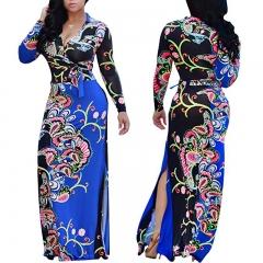 Autumn Winter African Print Maxi Long Dresses Women Vintage Retro Long Sleeve Dress Large Size blue xl
