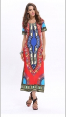 African dresses for women Vintage Dashiki Dress Robe Casual African Print Ladies Indian Dresses red s