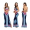 Women Vintage Retro Sleeveless Dress African Print Maxi Long Dresses blue xxl
