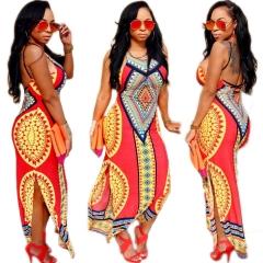 Women Vintage Retro Sleeveless Dress African Print Maxi Long Dresses red s