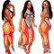 Women Vintage Retro Sleeveless Dress African Print Maxi Long Dresses red xxl