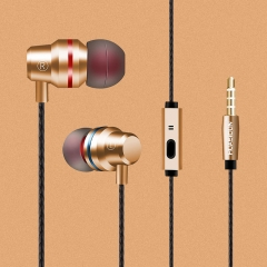 In-ear Headphones Headset 3.5mm  build-in microphone sports earphone for iphone andriod phone gold