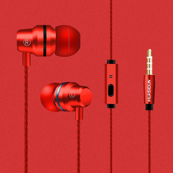 In-ear Headphones Headset 3.5mm  build-in microphone sports earphone for iphone andriod phone red