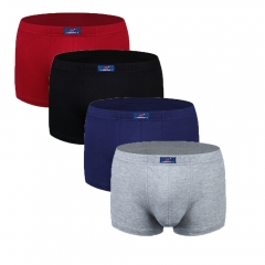 4 pack Men's Underwear Premium Soft Cotton Boxer Brief Black+Gray+Wine Red+dark blue 3xl