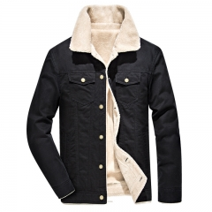 Men Winter Jackets Solid  thick Warm park men Jacket Mens Coat Black L