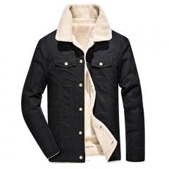 Men Winter Jackets Solid  thick Warm park men Jacket Mens Coat Black M