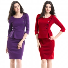 Women New Design Cocktail  3/4 Sleeve Bandage Bodycon  Sheath Knee-Length Pencil Dress 4xl red