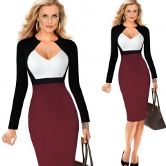 Women Vintage Patchwork Bodycon Dress Business Sheath Retro Long Sleeve Pencil Dress s white+wine red