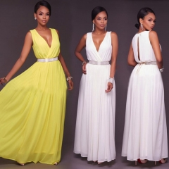 Women Sleeveless Summer Dresses  Long Dress Slim Sexy Elegant Chiffon Wedding Party Dress s yellow