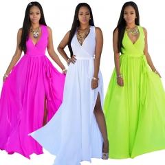 Women Sleeveless Summer Dresses Long Dress Slim Sexy Elegant Chiffon Party Dress s white