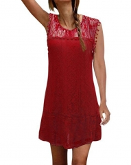 Women Summer Dresses  Lace Mini Party Dresses Sexy Club Casual Vintage Beach Sun Dress Plus Size s red