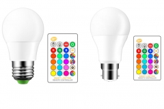 3W 5W 10W E27 B22 RGB LED Light Bulb Color Changing and White Dimmable with Remote Control RGB +white E27 3W