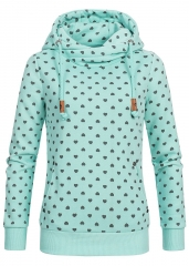 Autumn Hoodie Sweatshirt Hooded Women Patchwork Pockets Casual Long Sleeve Pullover Hoodies Hoody light green m