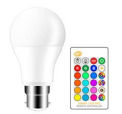 10W  B22 RGB LED Light Bulb Color Changing and White Dimmable with Remote Control RGB+White one size 10W