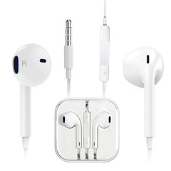 In-Ear Headphone Wired Universal Earphones Earpods with Volume Control White