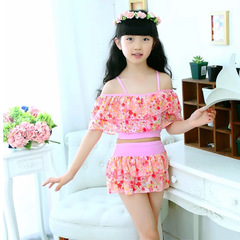 Girls Two Pieces Suits For Swimming Children Swimwear Kids Floral Bathing Suit  3-15 Years Pink 12(3-5year)