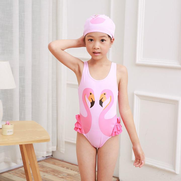 356d6bc9cc62f Girls Swimwear Cute Kids Swimsuit with Swimming Cap Swan Flamingo t One  Pieces Swim Wear Pink