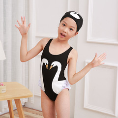 Girls Swimwear Cute Kids Swimsuit with Swimming Cap Swan Flamingo t One Pieces Swim Wear Black swan S(0-1year)