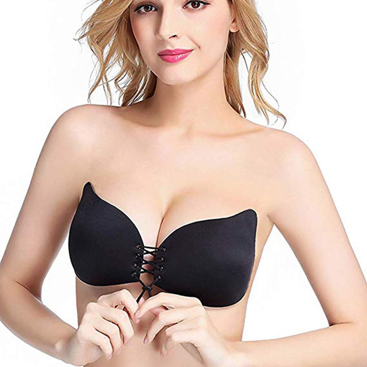 Women Push up Strapless Self Adhesive Plunge Bra Invisible Backless Sticky Bras black b cup
