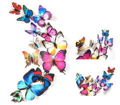 12pcs/set New Arrival Colorful 3D Butterfly Wall Stickers Party Wedding Decor DIY Home Decorations colorful magnet 12 pcs