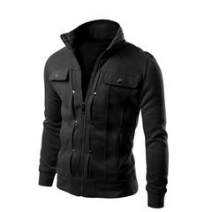 Autumn Winter Spring Men Jacket Coat Male Velvet Zipper Coat Long Sleeve Outwear Plus Size black m