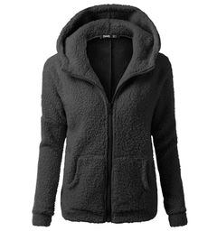 Women's Coat Casual Lapel Fleece Fuzzy Faux Shearling Zipper Warm Winter Oversized Outwear Jackets black m