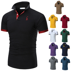 Mens Polo Shirt Brands Male Short Sleeve Casual Slim Solid Color Deer Embroidery Polo shirt Black M Cotton Polyester