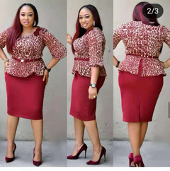 Women Office Ladies Outfits Print Peplum Tops and Midi Pencil Dress Sets Formal Business Outfits m red
