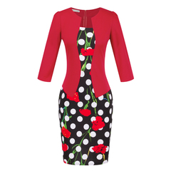 Women Dresses Faux Two Piece Dress Elegant Plaid Long Sleeve Pencil Dresses Office Wear Work Outfits s A-black