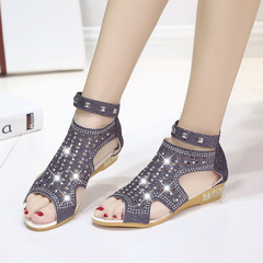 Women Sandals Open Toe Ankle Boots Sandal Crystal Sandalias Bling Wedges Summer Shoes Zapatos Mujer Black 36