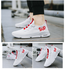 Men Running Shoes Men Sport Shoes Fashion Sneakers Men Breathable Fly Weave Outdoor Walking White 39