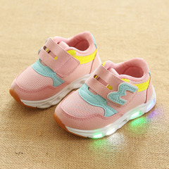 children's LED sport shoes boys girls casual shoes light shine shoes kids breathable mesh pink 23(Inner length 14cm)