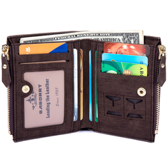 Men Leather Wallet RFID Blocking Men's Wallets Credit Card Holder Coin Pocket Purse coffee one size