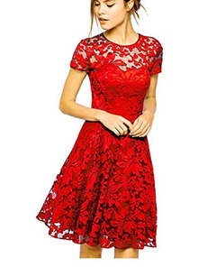 Womens Round Neck Short Sleeve Pleated Lace Mini Party Evening Cocktail Dress s red
