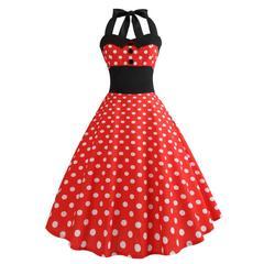 Womens Tea Dresses Halter Retro 1950s Swing Flared Rockabilly Sleeveless Floral Pleated Dress s 1