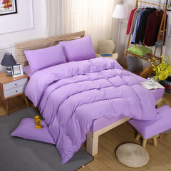 4PCS bedding sets Cotton  come with flat sheet duvet cover and two pillow cases light purple 5  x 6