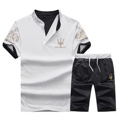 Men Sweat Suits  Casual Suit Men Summer Sets Tracksuits  Streetwar Tops Tees+Shorts Trousers White M