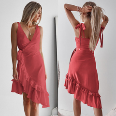 Womens Sexy Solid Long Dress Bandage Irregularity Ladies V-Neck Party Dress s red