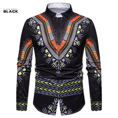 Fastion Men's National Style Printing 3D fashion leisure slim long sleeve shirts Black M