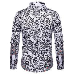 Men's National Style Printing 3D fashion leisure slim long sleeve shirts black m