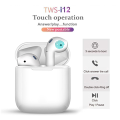 i12 TWS Touch control Mini 1:1 Air pods Wireless Bluetooth 5.0 earphones headset for IOS Smart Phone black