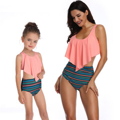 Swimsuits for Girls Women Bathing Suit Family Matching Swimsuits Mom and Daughter Swimwear Bikini A-pink 1 small