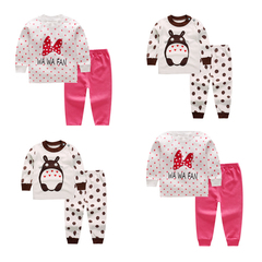 2 sets Baby Boy Clothing Set girls clothes Cartoon Top+ pants  print Kid cotton newborn Long sleeve A 66cm