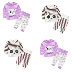 2 sets Cartoon Baby Clothes Set Cotton  Girl Boy Clothing T Shirt +Pant Suits  Infant Outfit a 66cm